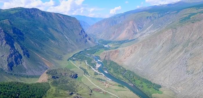Видео: Чулышманская долина, Телецкое озеро и водопад Учар с высоты птичьего полета