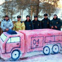Пожарные части в республике украсили ледяными фигурами