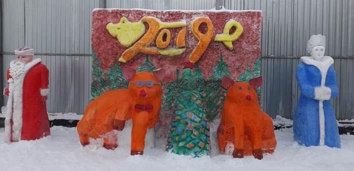 В исправительной колонии прошел новогодний конкурс на изготовление снежных фигур