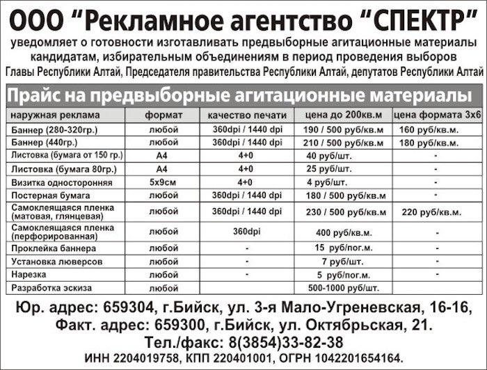 Уведомление ООО РА «СПЕКТР»