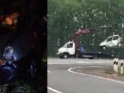Автобус из Чемала в Новосибирск снес с дороги легковую машину: двое погибших