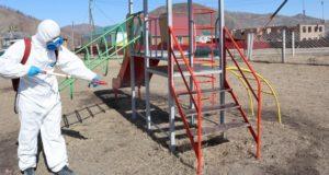 В Усть-Канском районе провели дезинфекцию общественных мест