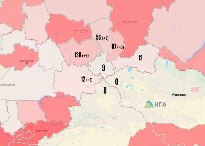 Распространение коронавируса в Республике Алтай и окрестных регионах