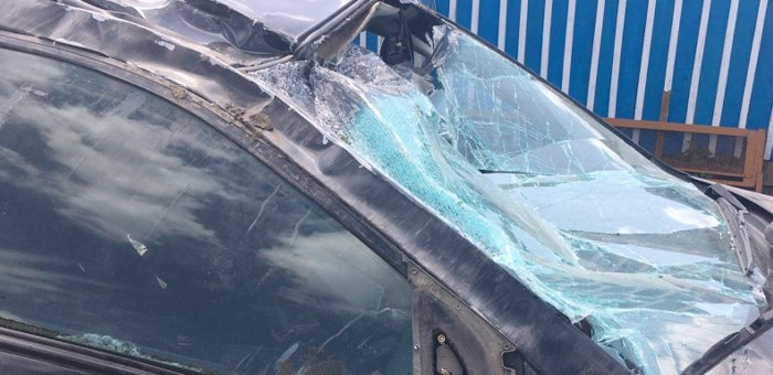 Lexus под управлением автоледи слетел с дороги