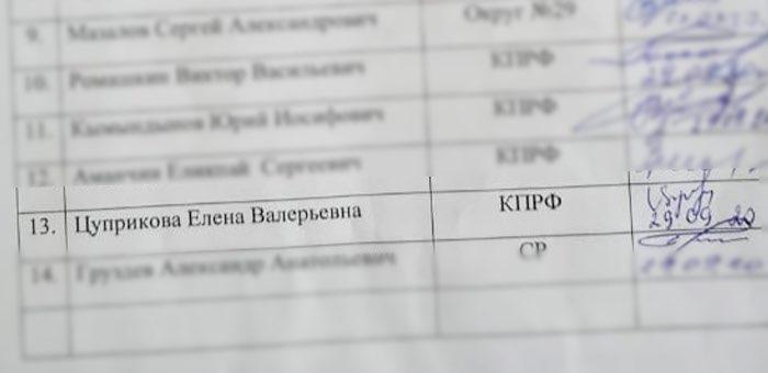 Депутат от КПРФ Елена Цуприкова отозвала свою подпись под требованием об импичменте