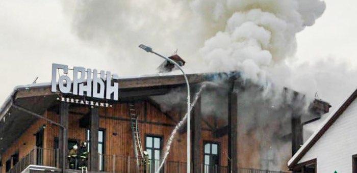 В одном из зданий на курорте «Манжерок» произошел пожар