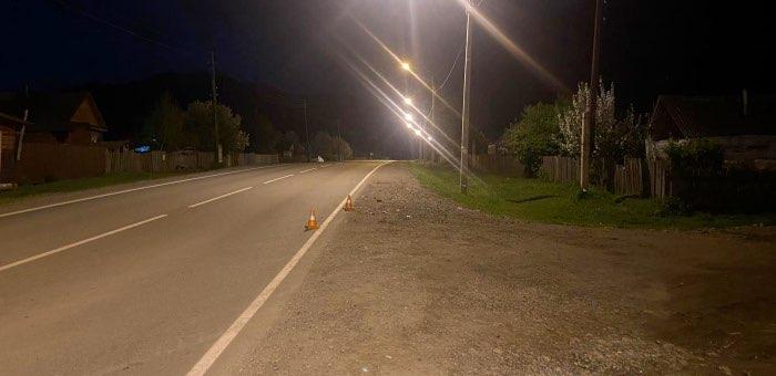 Мотоциклистка поздно вечером сбила лошадь
