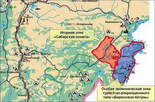 Схема размещения «Сибирской монеты» и «Алтайской долины»