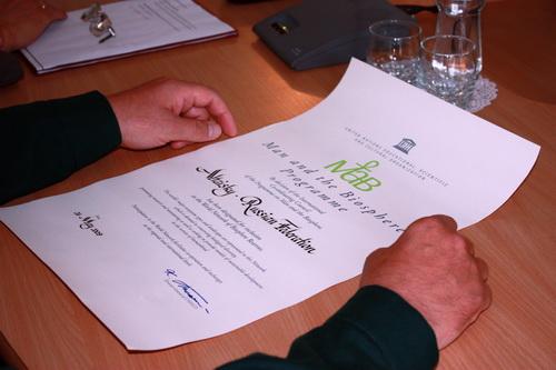 Сертификат оказался в крепких руках директора заповедника