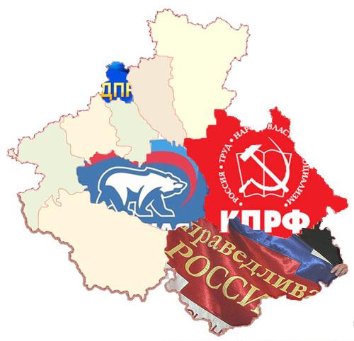 На карте обозначено, в каком районе партия получила наилучший результат