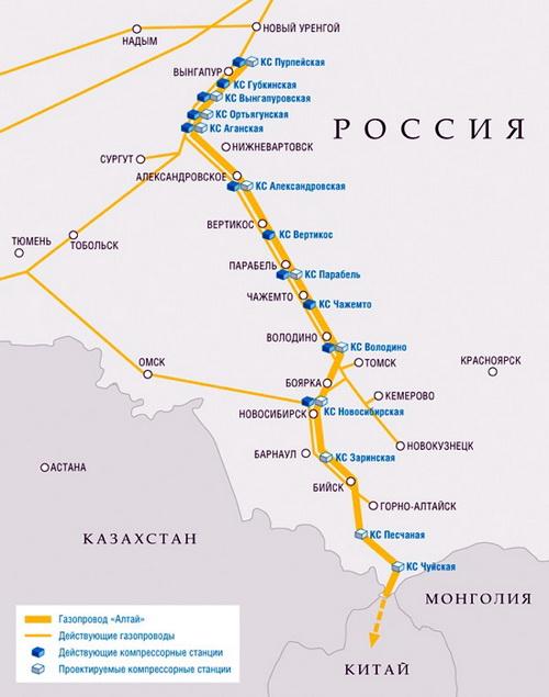 Схема газопровода «Алтай»