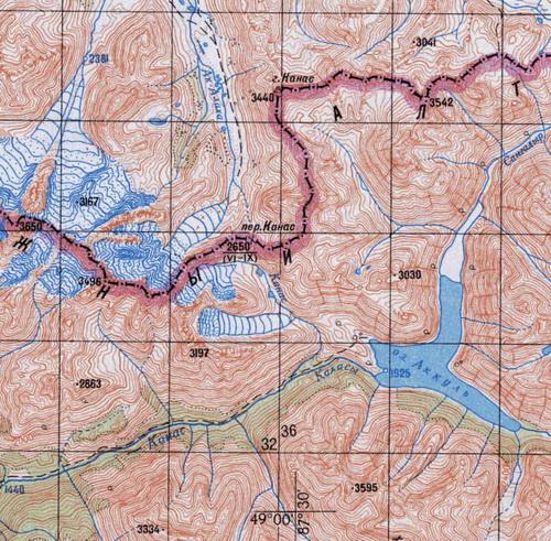 Озеро Аккуль на топографической карте
