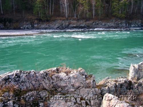 Осенью вода в Катуни приобретает изумрудный оттенок
