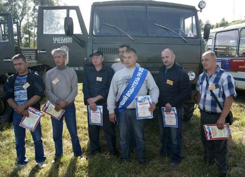 Участники конкурса лучших водителей большегрузных машин
