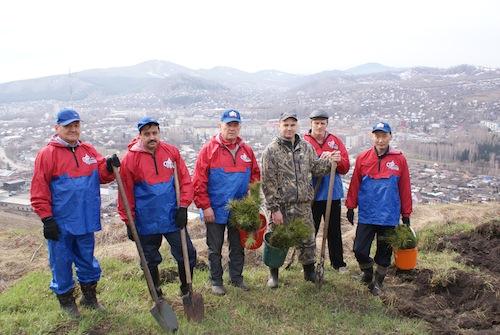 Сотрудники Пенсионного фонда на посадке леса