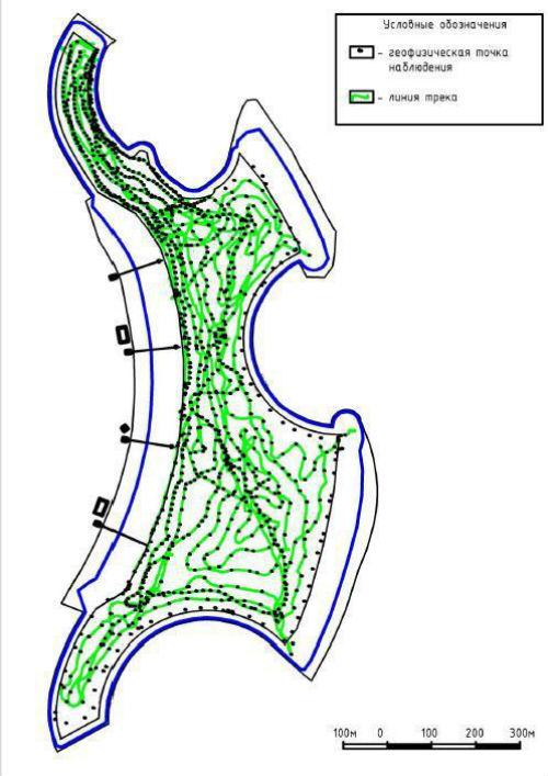 Карта обследования донной части озера методом электроразведки