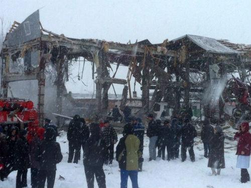 Здание магазина практически полностью разрушено. Фото Александра Киселева