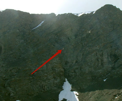 Расположение параплана на скале