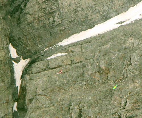 Фотография скалы, на которой видно бело-красное крыло параплана и зеленый запасной парашют
