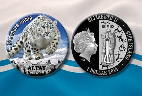 Доллар Ниуэ, алтайская серия. Реверс и аверс монеты.