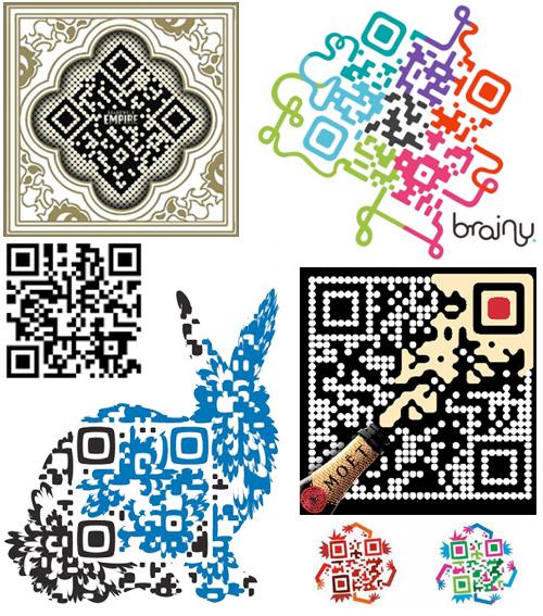 Образцы простого и художественных QR-кодов