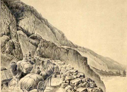 Торговый караван на Чуйском тракте, XIX век. Изображение с сайта rospisatel.ru