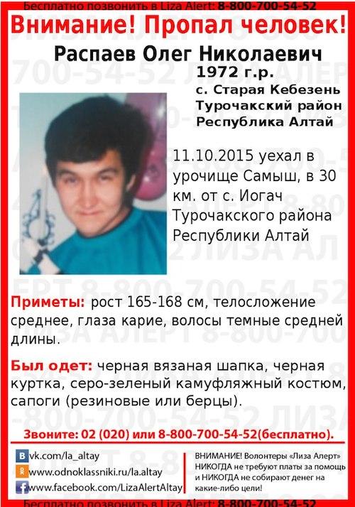 В Турочакском районе пропал мужчина, уехавший несколько недель назад на сбор ореха