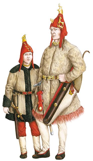 Реконструкция костюмов мужчины (могильник Верх-Кальджин) и мальчика (могильник Ак-Алаха-1). Иллюстрация - scfh.ru