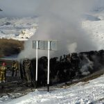 Фотофакт: Бензовоз сгорел в результате ДТП в Кош-Агачском районе